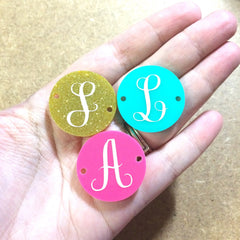 Circular Monogram Multi Color Disc Beads - choose White letter choice- discs for bangle making with 2 holes cut out - 1.25 inches across - Swoon & Shimmer - 2