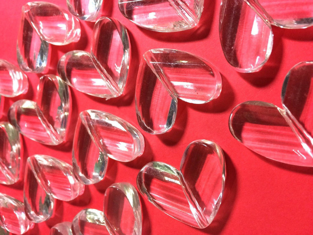 Clear Faceted 34mm acrylic heart beads - chunky craft supplies for wire bangle or jewelry making - 34x28mm - Swoon & Shimmer - 1