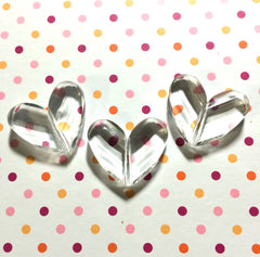 Clear Faceted 34mm acrylic heart beads - chunky craft supplies for wire bangle or jewelry making - 34x28mm - Swoon & Shimmer - 2