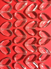Clear Faceted 34mm acrylic heart beads - chunky craft supplies for wire bangle or jewelry making - 34x28mm - Swoon & Shimmer - 3