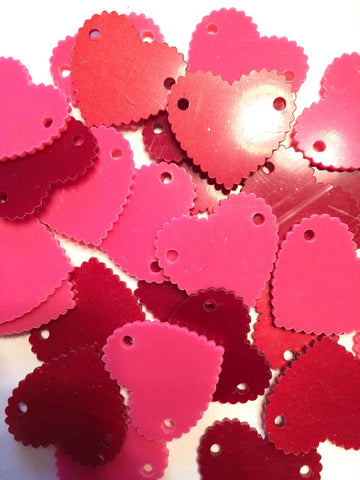 "2 Hole Acrylic Scalloped Heart - BLANK - 1.6"" Across - 2 Holes for Bangle Making, Necklace or Keychain, Jewelry Making - Flat Rate Shipping! - Swoon & Shimmer - 1"