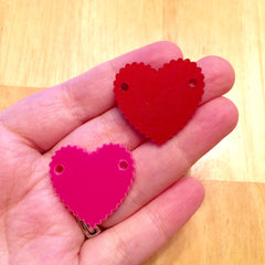 "2 Hole Acrylic Scalloped Heart - BLANK - 1.6"" Across - 2 Holes for Bangle Making, Necklace or Keychain, Jewelry Making - Flat Rate Shipping! - Swoon & Shimmer - 2"