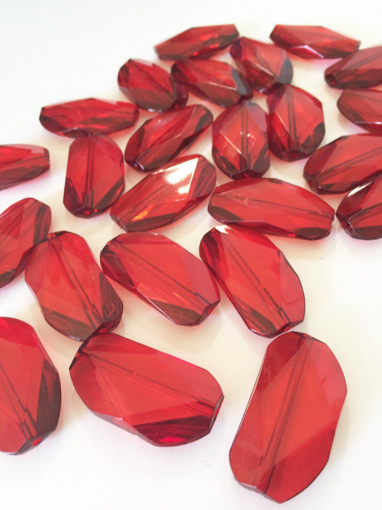 Large RED Gem Stone Beads - Acrylic Beads that look like stained glass for Jewelry Making-Necklaces, Bracelets, or Earrings! 45x25mm Stone - Swoon & Shimmer - 1