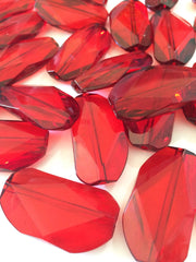 Large RED Gem Stone Beads - Acrylic Beads that look like stained glass for Jewelry Making-Necklaces, Bracelets, or Earrings! 45x25mm Stone - Swoon & Shimmer - 2