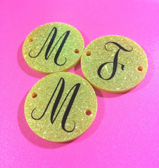 Circular Monogram Gold Glitter Disc Beads - choose letter choice- discs for bangle making with 2 holes cut out - 1.25 inches across - Swoon & Shimmer - 3