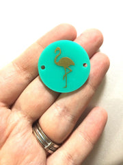 Gold Flamingo on Mint 2 hole disc - jewelry making, bangle bracelet, gift, handmade beads - 1.25 inch size - Swoon & Shimmer - 2