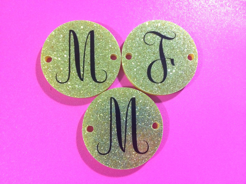 Circular Monogram Gold Glitter Disc Beads - choose letter choice- discs for bangle making with 2 holes cut out - 1.25 inches across - Swoon & Shimmer - 1