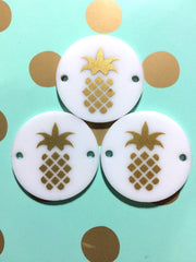 "Golden Pineapple on white Discs - Pick your disc color choice - 1.25"" bead - bangle bead jewelry making - Swoon & Shimmer - 3"
