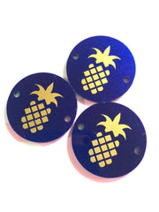 "Golden Pineapple on Dark Blue Discs - Pick your disc color choice - 1.25"" bead - bangle bead jewelry making - Swoon & Shimmer - 2"