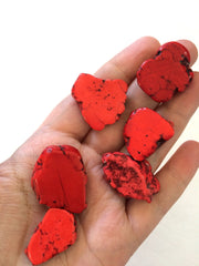 Flat Magnesite Chunky Beads in Red  - Nugget Dyed Beads for wire bangle Tassel bracelet jewelry makers