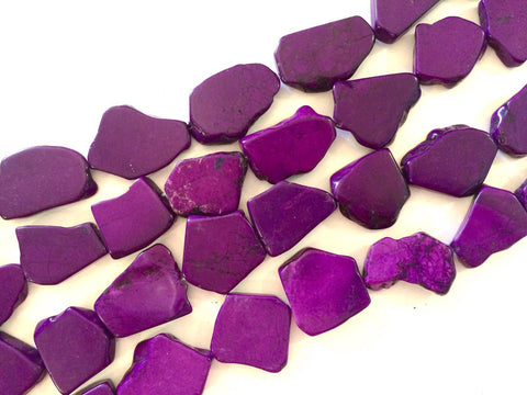 Flat Magnesite Chunky Beads in Dark Purple  - Nugget Dyed Beads for wire bangle Tassel bracelet jewelry makers