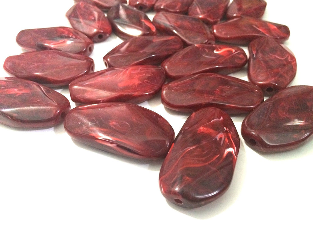 Large RED Gem Stone Beads - Acrylic Beads that look like stained glass for Jewelry Making-Necklaces, Bracelets, or Earrings! 45x25mm Stones - Swoon & Shimmer - 1