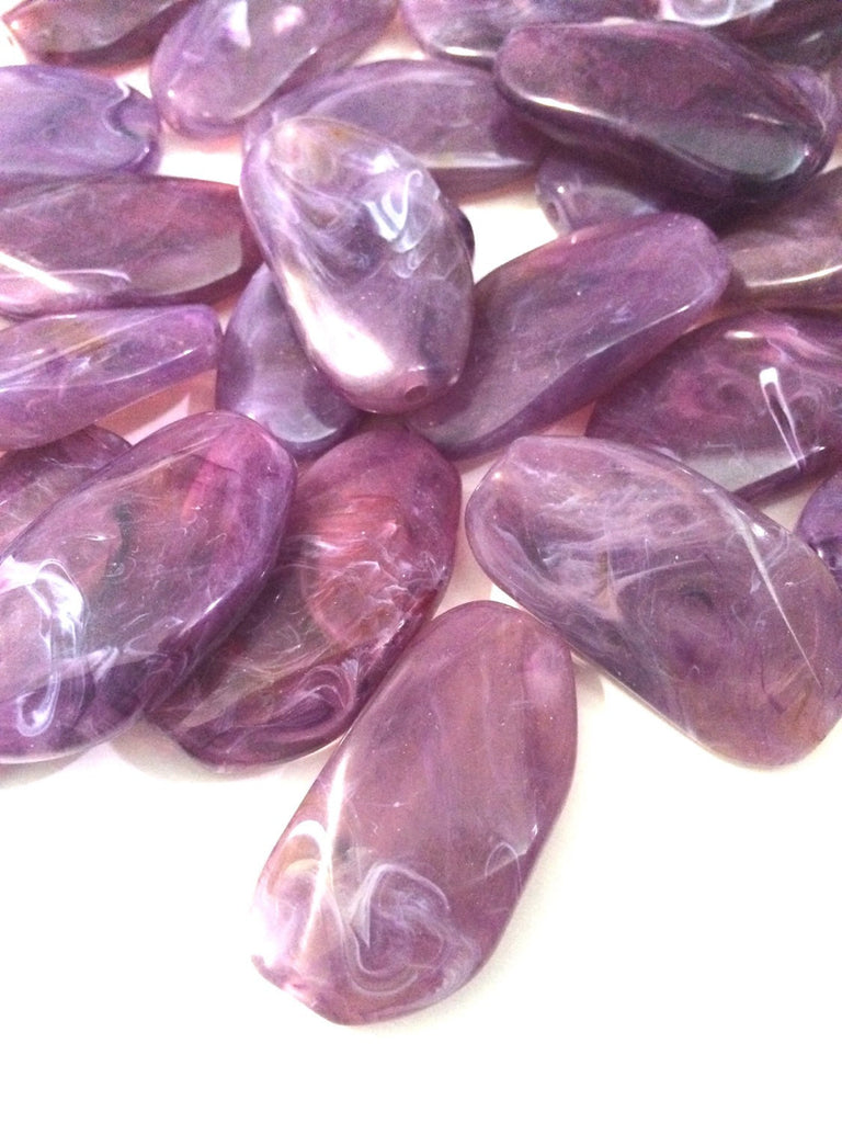 Large Purple Gem Stone Beads - Amethyst Acrylic Beads that look like stained glass for Jewelry Making-Necklaces, Bracelets, Earrings! 45mm - Swoon & Shimmer - 1