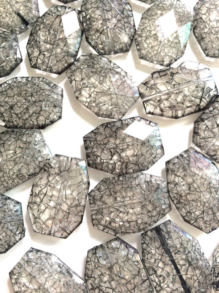 Smokey Gray Dinosaur Egg Clear Faceted 35mm acrylic beads - chunky craft supplies for wire bangle or jewelry making - Swoon & Shimmer - 1