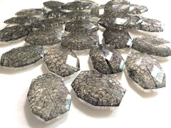 Smokey Gray Dinosaur Egg Clear Faceted 35mm acrylic beads - chunky craft supplies for wire bangle or jewelry making - Swoon & Shimmer - 2