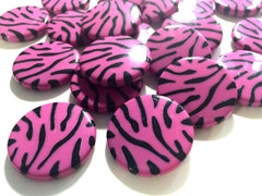 Pink & Black 30mm circular animal print beads - beads for jewelry making - tiger cougar cat stripe - team jewelry - Swoon & Shimmer - 1
