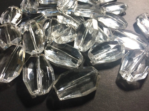 Large Translucent Beads - Faceted Irregular Shaped Clear Nugget Bead - FLAT RATE SHIPPING 32mm - Swoon & Shimmer - 1