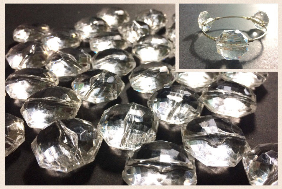 Clear Large Translucent Beads - Faceted Octagon Bead - 26mm - Bangle Necklace Earring Jewelry Making Beads - Swoon & Shimmer - 1