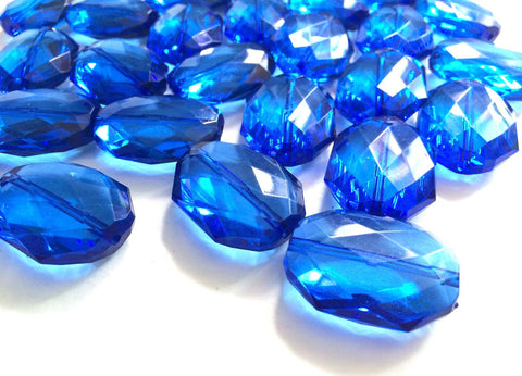 35x24mm Royal Blue Slab Nugget Beads - Beads for Bangle Bracelet Necklace or Jewelry Making - Faceted Acrylic Craft Supplies - Swoon & Shimmer - 1