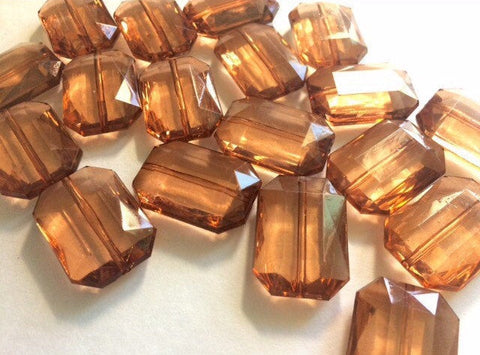 Coffee Brown Large Translucent Beads - Faceted Nugget Bead - FLAT RATE SHIPPING 30mmx22mm Dark
