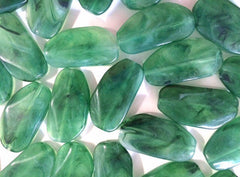 Large JALAPENO GREEN Gem Stone Beads - Acrylic Beads that look like stained glass for Jewelry Making-Necklaces, Bracelets, Earrings 45MM