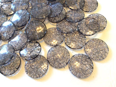 Smoke Gray Dinosaur Egg Clear Circular 33mm acrylic beads - chunky craft supplies for wire bangle or jewelry making