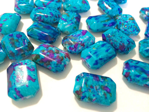 Freckled TURQUOISE with purple Peacock Beads - Octogon 24x16mm Large faceted acrylic nugget beads for bangle or jewelry making