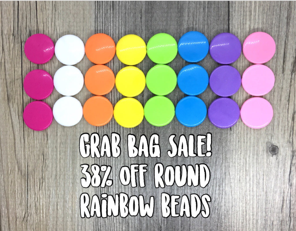 SALE! Round Bead Grab Bag in 8 Best Selling Colors, white blue orange yellow pink beads, 26mm beads, bright beads, circular beads, clearance