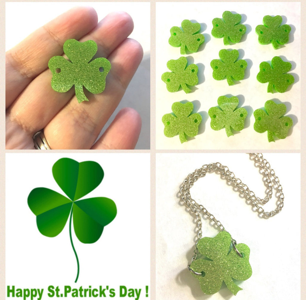Acrylic Shamrocks, St. Patrick's Day, Green Bracelets, Green Glitter, wire bangle bracelets, jewelry making, St. Pat's Day Jewelry, shamrock