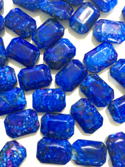 Painted ROYAL BLUE Beads - Octogon 24x16mm Large faceted acrylic nugget beads for bangle or jewelry making - Swoon & Shimmer - 2