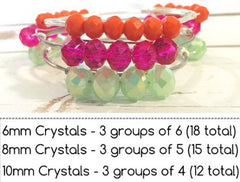 8mm Mint & Gray Ombre Glass Crystals - Set of 15 Beads for Wire Bangle Bracelet - Fuchsia Colored Faceted Beads - Swoon & Shimmer - 5