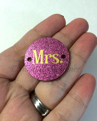 Mrs. in Gold on Pink Glitter or your choice of disc - jewelry making, bangle bracelet, gift, handmade beads - 1.25 inch - Swoon & Shimmer - 2