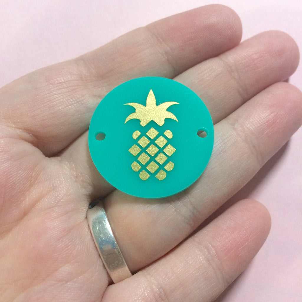 "Gold Pineapple on Mint Discs - Pick your disc color choice - 1.25"" bead - bangle bead jewelry making - Swoon & Shimmer - 1"