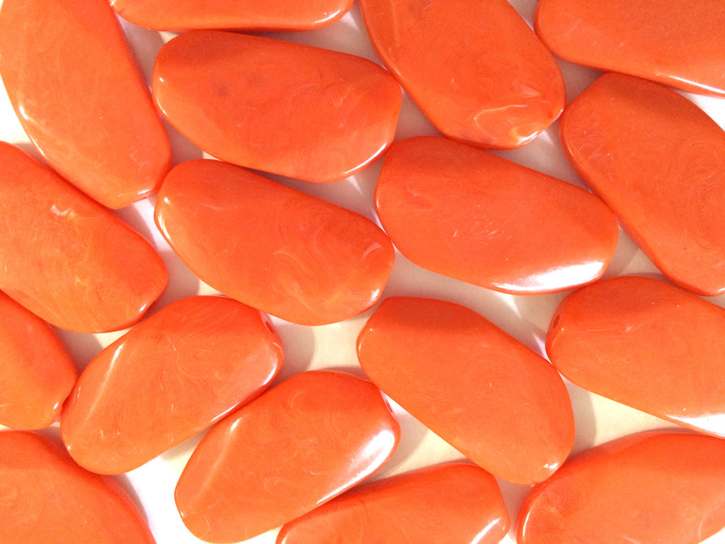 Large ORANGE PEEL Gem stone Beads - Acrylic Beads look like stained glass for Jewelry Making-Necklaces, Bracelets, or Earrings! 45x25mm Stone - Swoon & Shimmer - 1