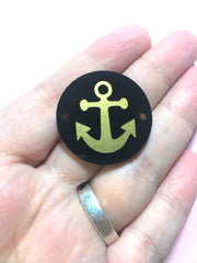 Anchor in Gold on Black or your choice of disc - jewelry making, bangle bracelet, gift, handmade beads - 1.25 inch - Swoon & Shimmer - 3