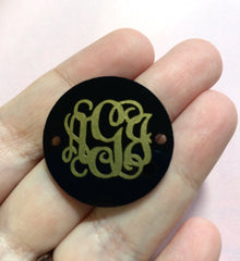 Monogram Disc Beads - 3 Letter Circle Monogram - Pick your Disc Color AND font color! - 1.25 Inch Beads for Bangle Making