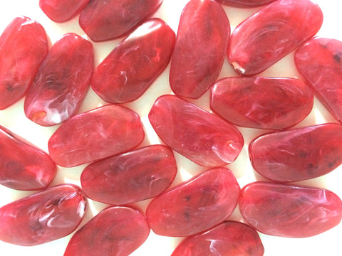 Large FIESTA RED Gem stone Beads - Acrylic Beads look like stained glass for Jewelry Making-Necklaces, Bracelets, or Earrings! 45x25mm Stone - Swoon & Shimmer - 1