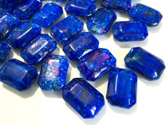 Painted ROYAL BLUE Beads - Octogon 24x16mm Large faceted acrylic nugget beads for bangle or jewelry making - Swoon & Shimmer - 1