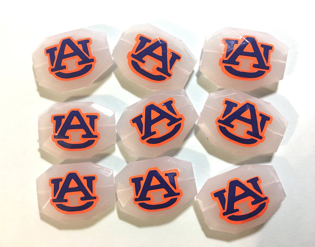 Auburn Beads, SET OF 9, Orange and Blue on White Beads