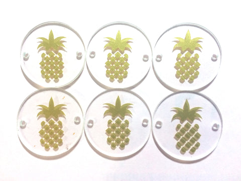 "Gold Pineapple on Clear Discs - Pick your disc color choice - 1.25"" bead - bangle bead jewelry making - Swoon & Shimmer - 1"