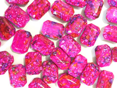 Painted DARK PINK Beads with lime spots - Octogon 24x16mm Large faceted acrylic nugget beads for bangle or jewelry making - Swoon & Shimmer - 3