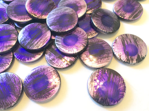 Purple Sunburst Curcular 33mm acrylic beads - chunky craft supplies for wire bangle or jewelry making - LIMITED EDITION - Swoon & Shimmer - 1
