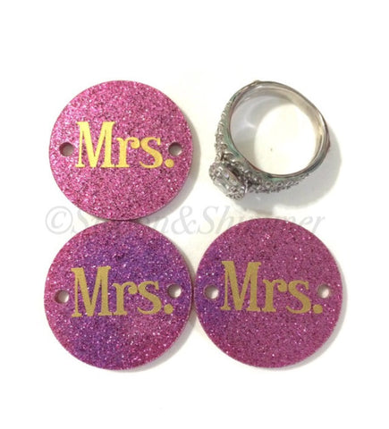 Mrs. in Gold on Pink Glitter or your choice of disc - jewelry making, bangle bracelet, gift, handmade beads - 1.25 inch - Swoon & Shimmer - 1