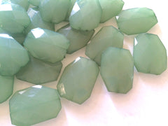 Large Mojito Green faceted beads - acrylic pink beads for jewelry making - 39mm size