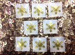 Gold Snowflake on White faceted square beads - gold beads for jewelry making