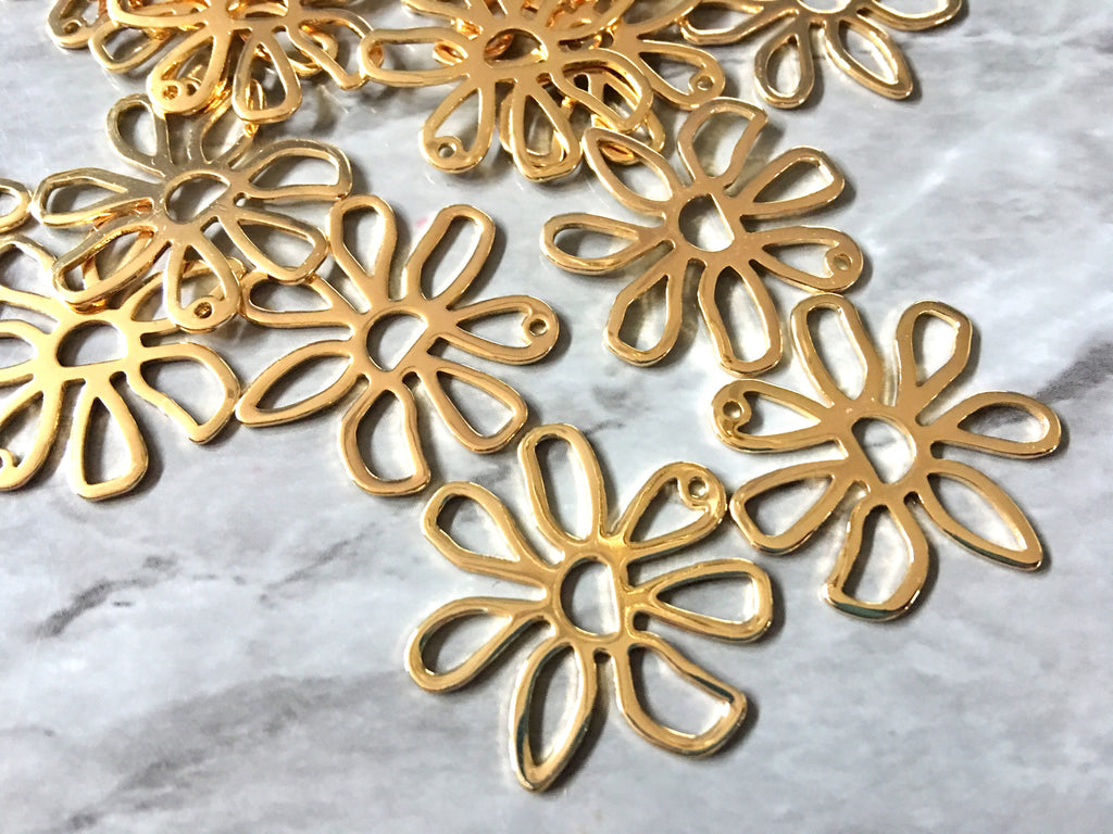 Shiny metal MOD Gold Flower Cutout, earring bead jewelry making, 26mm jewelry, gold pendant floral 1 Hole Earring blanks golden metallic