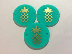 "Gold Pineapple on Mint Discs - Pick your disc color choice - 1.25"" bead - bangle bead jewelry making - Swoon & Shimmer - 2"