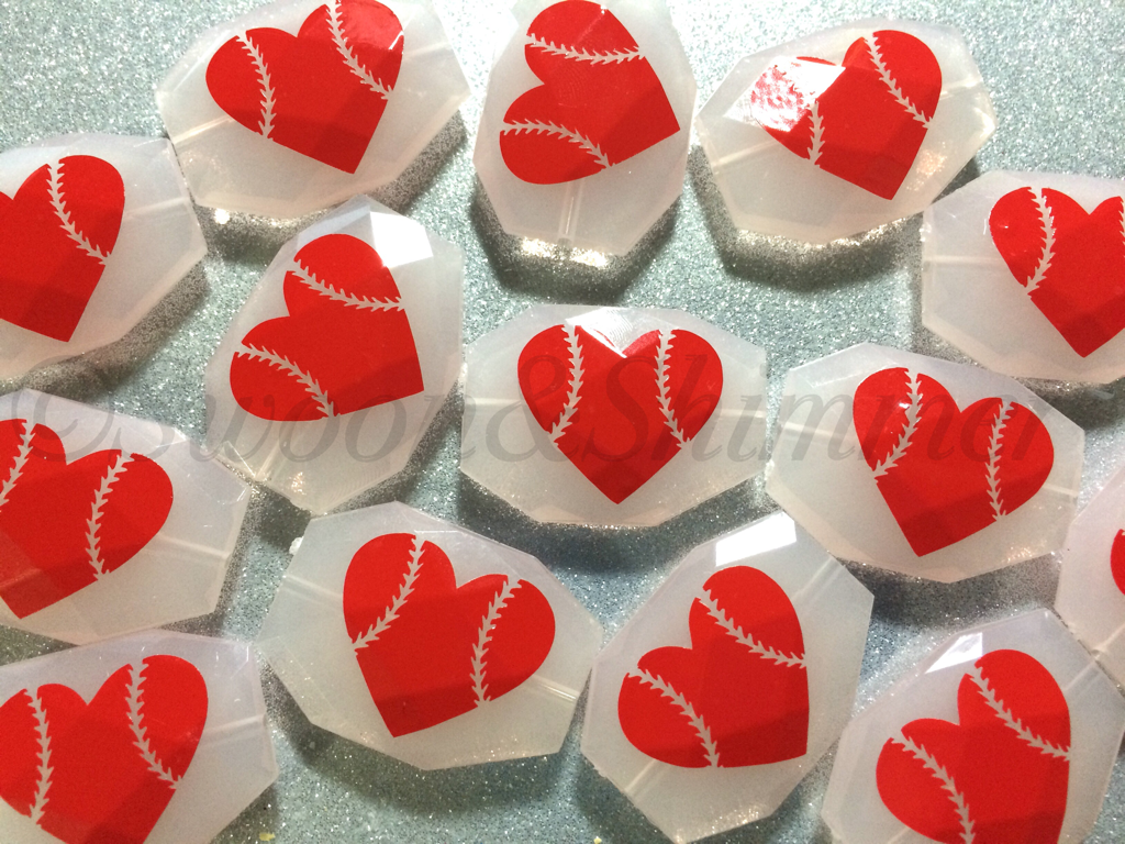 BASEBALL LOVE on your choice of bead color - jewelry making, bangle bracelet, gift, handmade beads