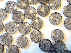 Smoky Gray Dinosaur Egg Clear Circular 33mm acrylic beads - chunky craft supplies for wire bangle or jewelry making - Swoon & Shimmer - 2