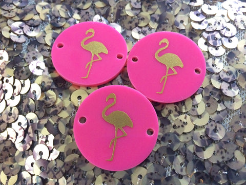 Gold Flamingo on Pink 2 hole disc - jewelry making, bangle bracelet, gift, handmade beads - 1.25 inch size - Swoon & Shimmer - 1